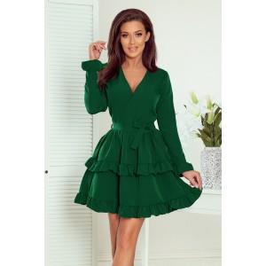 Slavnostní dámské zelené mini šaty se sukní s volány