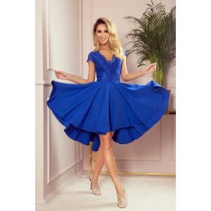 Romantické dámské modré šaty s krajkou a nařasenou sukní