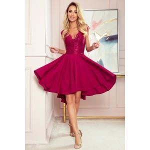 Bordové šaty s krajkou a rafinovaným spodním dílem