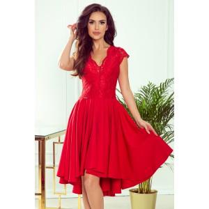 Dámské červené šaty s krajkou a prodlouženým zadním dílem