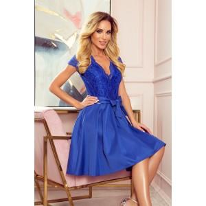Krásné dámské modré společenské šaty s krajkou