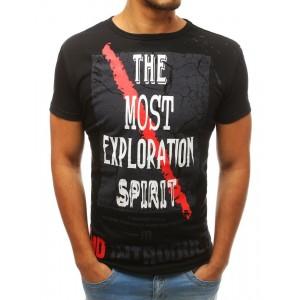 Pánské černé tričko s potiskem na přední straně