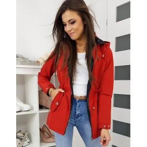 Červená přechodná bunda s kapucí a třemi kapsami