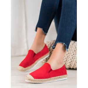 Dámské stylové espadrilky v červené barvě