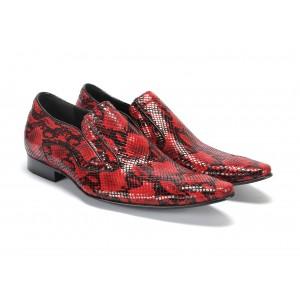 Extravagantní pánské kožené mokasíny v červené barvě