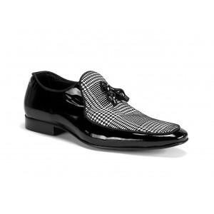Lesklé pánské kožené boty v černé barvě COMODO E SANO