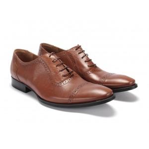 Moderní pánské kožené boty v hnědé barvě