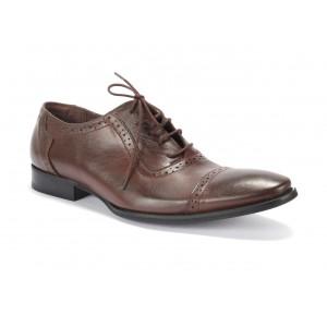Pánské děrované kožené boty COMODO E SANO v hnědé barvě