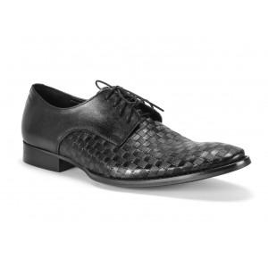 Matné pánské kožené boty COMODO E SANO v černé barvě
