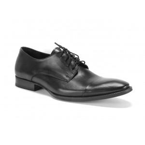 Pánské kožené boty na šněrování COMODO E SANO v černé barvě
