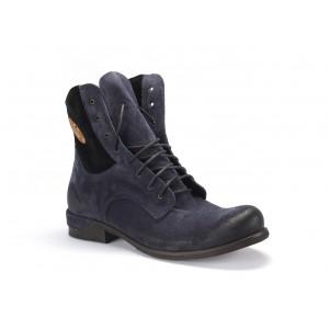 Vysoké pánské kožené zimní boty v modré barvě