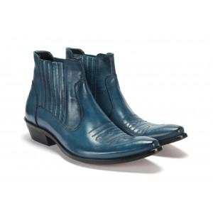 Pánské kožené kovbojky modře na nízkém podpatku