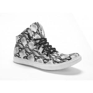 Pánské vysoké sportovní vzorované kožené boty v bílé barvě