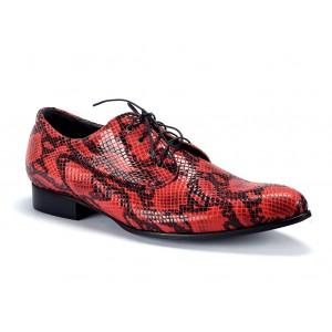 Pánské extravagantní kožené boty v červené barvě