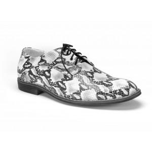 Tygrované pánské kožené boty COMODO E SANO v bílé barvě