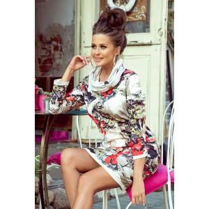 Stylové dámské šaty s abstraktním vzorem a trendy límcem