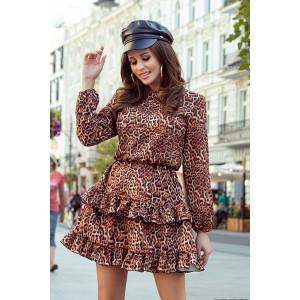 Stylové dámské hnědé leopardí šaty s volány