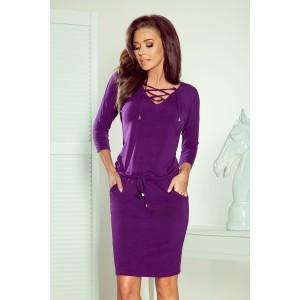 Elastické fialové dámské šaty s módním vázáním