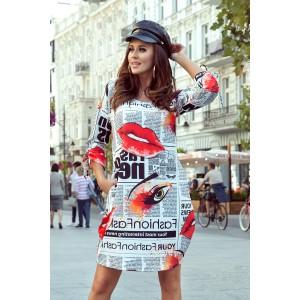 Sportovní dámské šaty s originálním novinářským potiskem