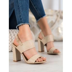 Dámské béžové sandály na vysokém podpatku