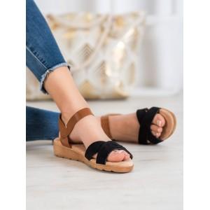 Nízké letní sandály v černé barvě se zapínáním kolem kotníku
