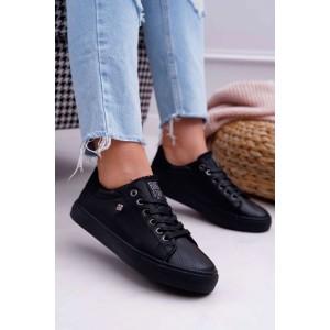 Moderní dámské tenisky v černé barvě na šněrování