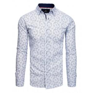 Moderní bílá vzorovaná košile s dlouhým rukávem