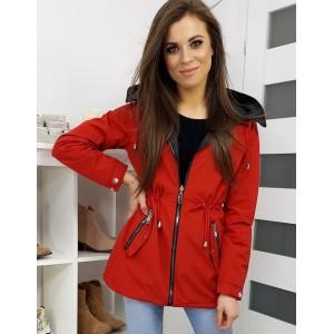 Červená jarní bunda s odnímatelnou kapucí pro dámy
