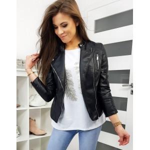 Černá dámská kožená bunda na jaro
