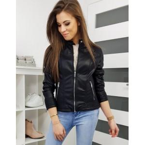 Trendová dámská kožená bunda na zip černé barvy