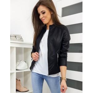 Elegantní černá kožená bunda pro dámy