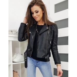 Dámská kožená bunda s ozdobnou přezkou černé barvy