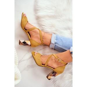 Žluté dámské sandály na vysokém podpatku