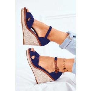 Dámské semišové sandály na platformě v modré barvě