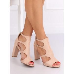 Dámské sandály se zapínáním v béžové barvě