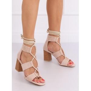 Vázané dámské sandály na vysokém podpatku