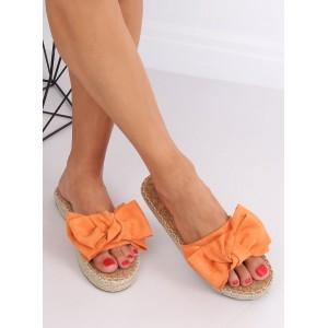 Oranžové dámské pantofle s mašličkou