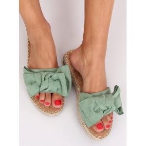 Dámské semišové pantofle v zelené barvě