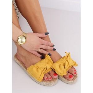 Kvalitní dámské pantofle ve žluté barvě s pleteným copem kolem podrážky