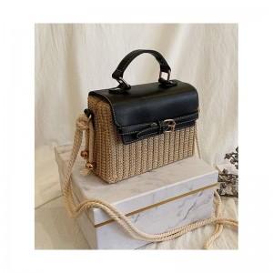 Slaměná dámské originální kabelka v černé barvě