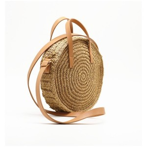 Kulatá dámská pletená kabelka na léto