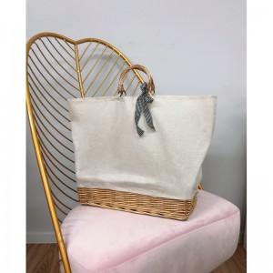 Stylová dámská pletená kabelka s mašličkou