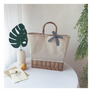 Béžová dámská pletená kabelka na léto