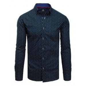 Tmavě modrá vzorovaná pánská košile s dlouhým rukávem