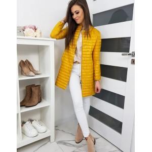 Trendová dlouhá dámská přechodná bunda žluté barvy
