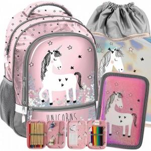 Růžový školní set pro dívky s jednorožcem