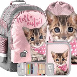 Růžovo šedá školní taška s kotětem