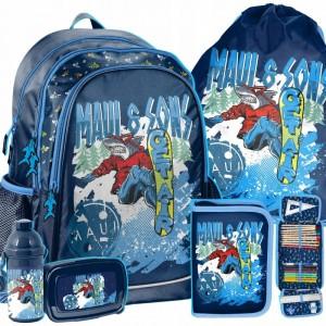 Modrá chlapecká školní taška s příslušenstvím