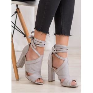 Vysoké dámské sandály s vázáním kolem nohy v šedé barvě