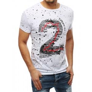 Moderní pánské tričko bílé barvy s potiskem